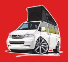 VW T5 California Camper Van White (10-Spoke Wheels) One Piece - Short Sleeve