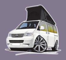 VW T5 California Camper Van White (10-Spoke Wheels) Kids Tee