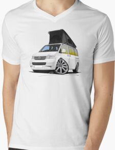 VW T5 California Camper Van White (10-Spoke Wheels) Mens V-Neck T-Shirt