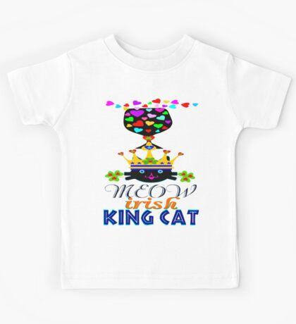 ㋡♥♫Irish Shamrock Crowned King Cat Fantabulous Clothing & Stickers♪♥㋡ Kids Tee