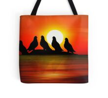 Birds at Sunset point Tote Bag