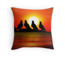 Birds at Sunset point Throw Pillow