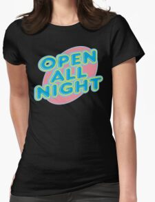 """Bowling """"OPEN ALL NIGHT"""" Womens Fitted T-Shirt"""
