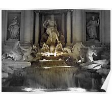 Trevi Fountain Rome at night Poster
