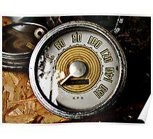 Vintage automobile speed gauge Poster