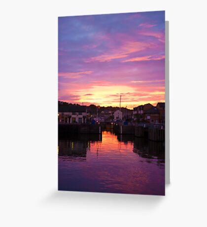 Penarth Marina at dusk Greeting Card