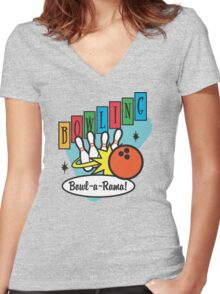 Retro Bowling Women's Fitted V-Neck T-Shirt