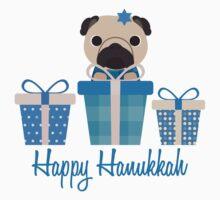 Happy Hanukkah Pug  One Piece - Short Sleeve