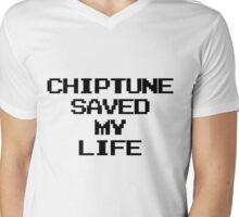 Chiptune Saved My Life (Black) Mens V-Neck T-Shirt
