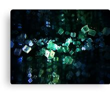 Multi Faceted Blue Green Blocks In Motion Canvas Print