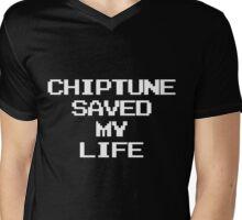 Chiptune Saved My Life (White) Mens V-Neck T-Shirt