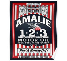 Amalie Motor Oil Retro Sign Reproduction Poster
