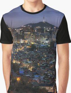 Seoul Panorama Night Graphic T-Shirt