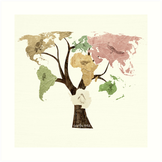 Earth Tree (Birds) by Paula Belle Flores