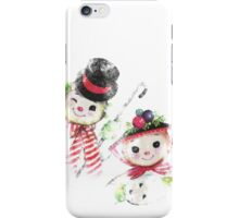 Vintage Snowman family for Christmas iPhone Case/Skin