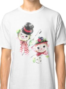 Vintage Snowman family for Christmas Classic T-Shirt