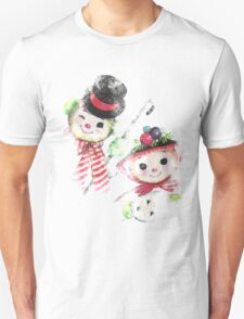 Vintage Snowman family for Christmas Unisex T-Shirt
