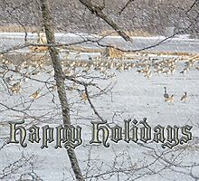 Happy Holidays Greeting Card - Canada Geese by MotherNature