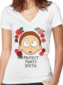 Protect Morty Smith Women's Fitted V-Neck T-Shirt