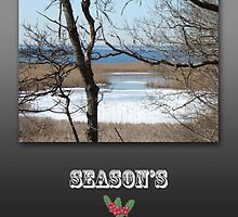 Season's Greetings Card - Tree and Ocean in Winter by MotherNature