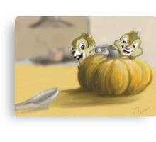 Autumn with Chip and Dale Canvas Print