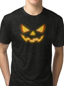 Scary Halloween Horror Pumpkin Face Tri-blend T-Shirt