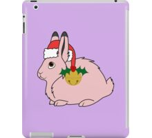 Light Pink Arctic Hare with Santa Hat, Holly & Gold Bell iPad Case/Skin