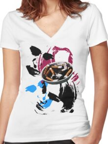Smoke. Women's Fitted V-Neck T-Shirt