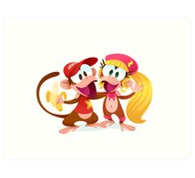Monkey Buddies Art Print