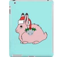 Light Pink Arctic Hare with Santa Hat, Holly & Silver Bell iPad Case/Skin