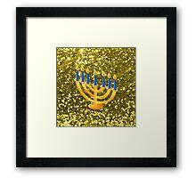 Yellow Menorah Gold Faux Glitter Framed Print