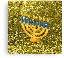 Yellow Menorah Gold Faux Glitter Canvas Print