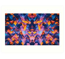 Abstract Surreal Chaos theory in Modern Blue / Orange Art Print