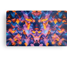 Abstract Surreal Chaos theory in Modern Blue / Orange Metal Print