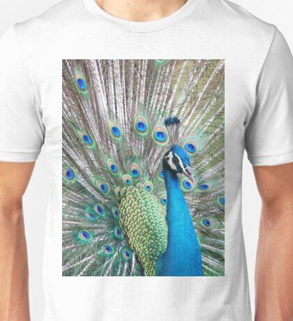 Peacock displaying Unisex T-Shirt