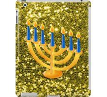 Yellow Menorah Gold Faux Glitter iPad Case/Skin