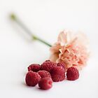 A flower and some raspberries by Alice Kent