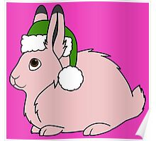 Light Pink Arctic Hare with Christmas Green Santa Hat Poster