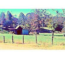 Country Farm in Watercolor Photographic Print