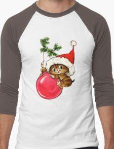 Cute Christmas Kitten  Men's Baseball ¾ T-Shirt