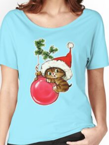 Cute Christmas Kitten  Women's Relaxed Fit T-Shirt