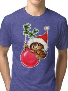 Cute Christmas Kitten  Tri-blend T-Shirt