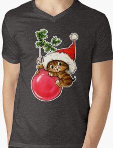 Cute Christmas Kitten  Mens V-Neck T-Shirt