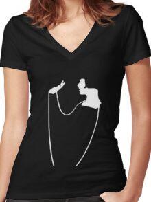 The Pearl Necklace Art Nouveau Flapper Women's Fitted V-Neck T-Shirt