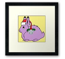 Light Purple Arctic Hare with Santa Hat, Holly & Silver Bell Framed Print