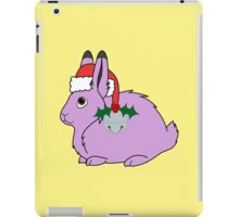 Light Purple Arctic Hare with Santa Hat, Holly & Silver Bell iPad Case/Skin
