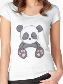 Cute Panda Drawing  Women's Fitted Scoop T-Shirt