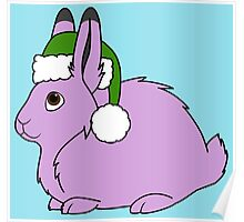 Light Purple Arctic Hare with Christmas Green Santa Hat Poster