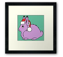 Light Purple Arctic Hare with Christmas Red Santa Hat Framed Print