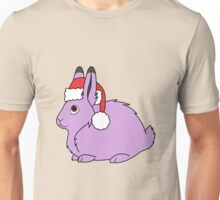 Light Purple Arctic Hare with Christmas Red Santa Hat Unisex T-Shirt